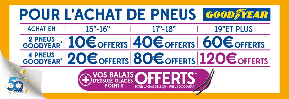Bénéficiez de 120€ et de balais d'essuie-glaces offerts pour l'achat de 4 pneus GOODYEAR !