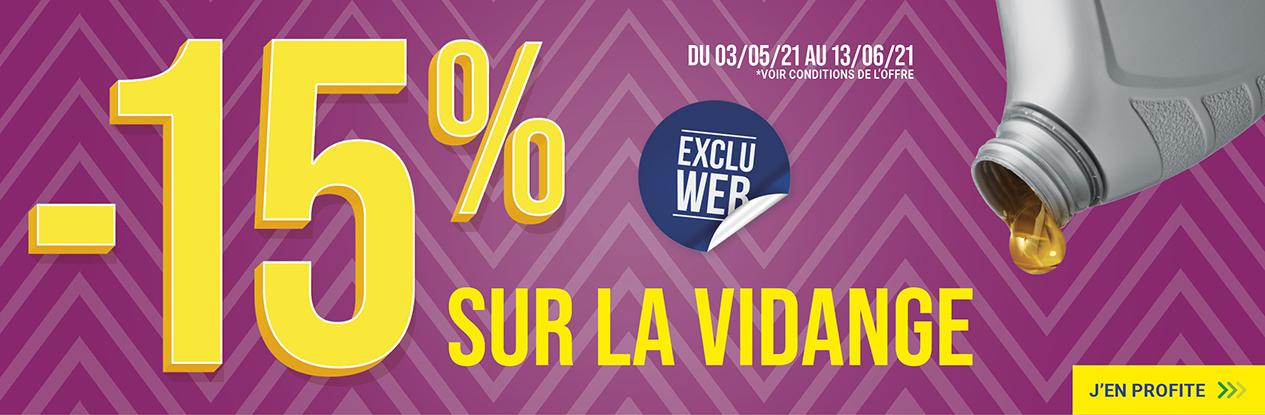 Exclu web : 15% de remise sur la vidange !