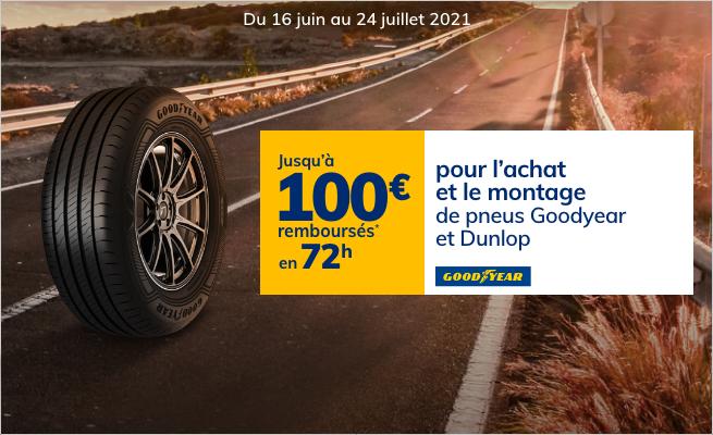 Jusqu'à 100€ remboursés en 48h pour l'achat de pneus Goodyear et Dunlop