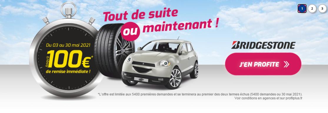 Jusqu'à 100€ remise immédiate pour l'achat de pneus Bridgestone