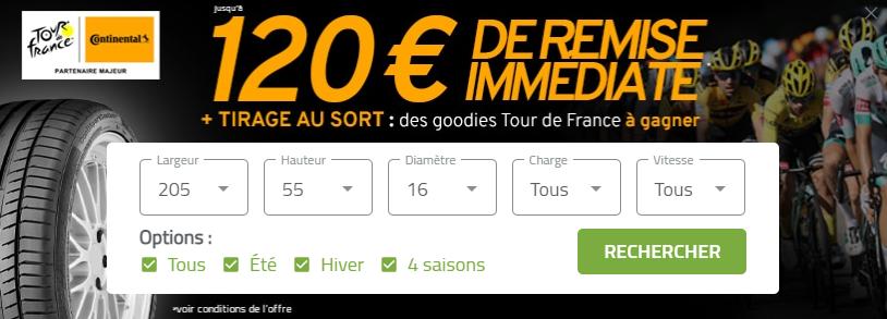 Jusqu'à 100€ remise immédiate pour l'achat de pneus Continental