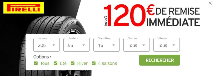 Jusqu'à 120€ de remise pour l'achat de pneus Pirelli