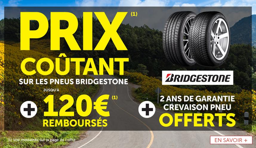 JUsqu'à 120€ remboursés pour l'achat de pneus Bridgestone