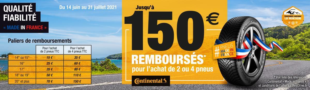 Jusqu'à 150€ remboursés pour l'achat de pneus Continental