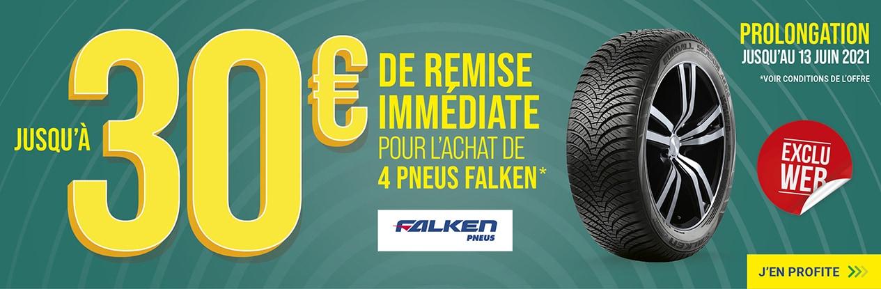 Jusqu'à 30€ de remise immédiate pour l'achat de 4 pneus FALKEN