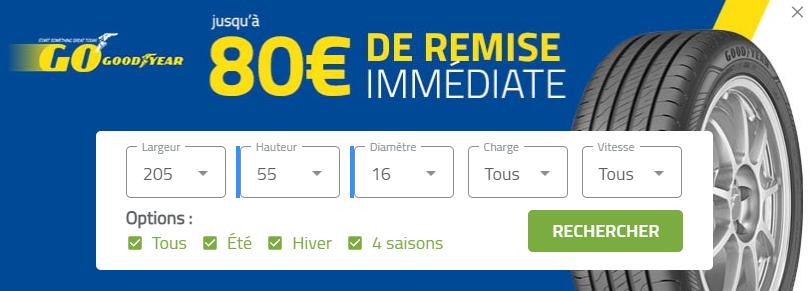 Jusqu'à 80€ de remise immédiate pour l'achat de pneus GoodYear