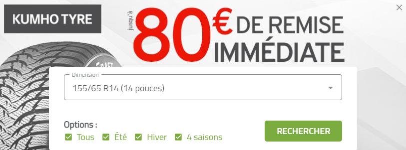 Jusqu'à 80€ de remise immédiate pour l'achat de pneus Kumho